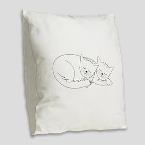 2 Cats Nap Burlap Throw Pillow