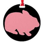 Pink Bunny Rabbit on Black Ornament