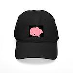Pink Bunny Rabbit on Black Baseball Hat