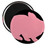 Pink Bunny Rabbit on Black Magnets
