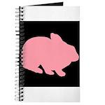 Pink Bunny Rabbit on Black Journal