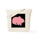 Pink Bunny Rabbit on Black Tote Bag