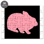 Pink Bunny Rabbit on Black Puzzle