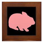 Pink Bunny Rabbit on Black Framed Tile