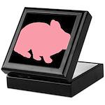 Pink Bunny Rabbit on Black Keepsake Box