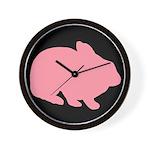 Pink Bunny Rabbit on Black Wall Clock