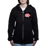 Pink Bunny Rabbit on Black Women's Zip Hoodie