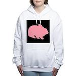 Pink Bunny Rabbit on Black Women's Hooded Sweatshi