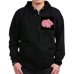 Pink Bunny Rabbit on Black Zip Hoodie