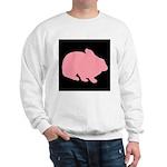 Pink Bunny Rabbit on Black Sweatshirt
