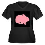 Pink Bunny Rabbit on Black Plus Size T-Shirt