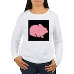 Pink Bunny Rabbit on Black Long Sleeve T-Shirt
