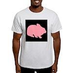 Pink Bunny Rabbit on Black T-Shirt