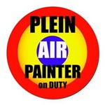 Plein Air Painter On Duty Round Car Magnet