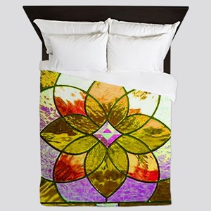 Harvest Gold Stained Glass Queen Duvet