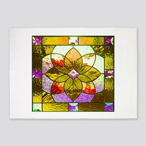 Harvest Gold Stained Glass 5'x7'Area Rug