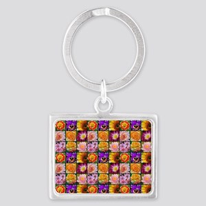 Colorful flower collage Keychains