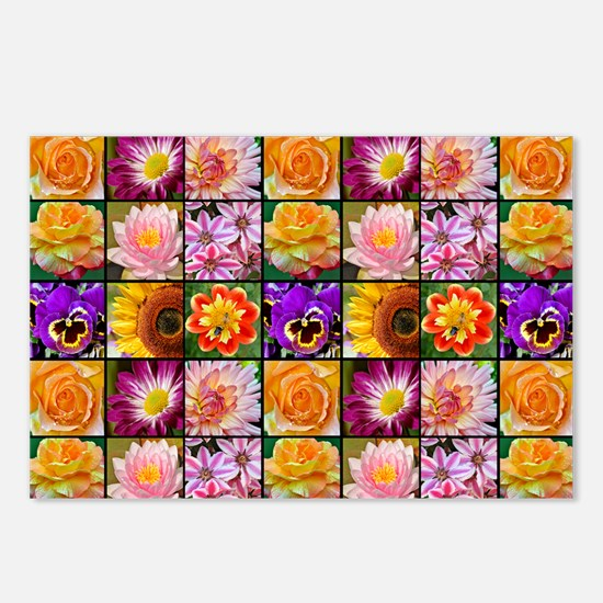 Colorful flower collage Postcards (Package of 8)