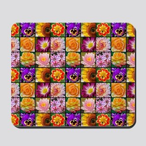 Colorful flower collage Mousepad