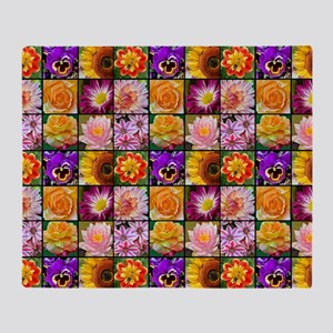 Colorful flower collage Throw Blanket