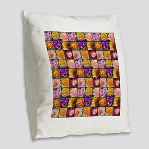Colorful flower collage Burlap Throw Pillow