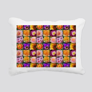 Colorful flower collage Rectangular Canvas Pillow