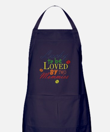 LUCKY TO BE LOVED BY TWO MOMMIES Apron (dark)