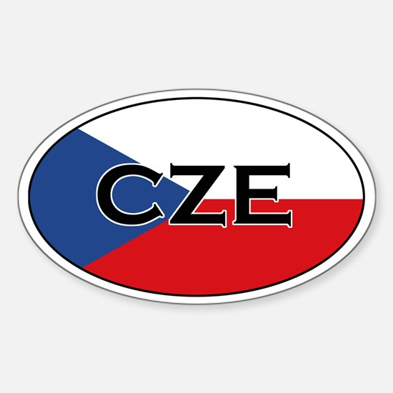 Czech Flag with text Oval Decal