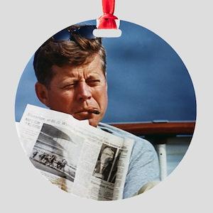 JFK Smoking Round Ornament