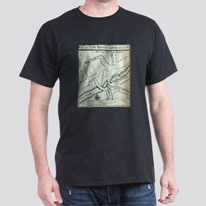 Ocracoke Inlet Map - Blackeard's Anchoring T-Shirt