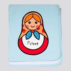 Matryoshka Russian Wooden Doll baby blanket