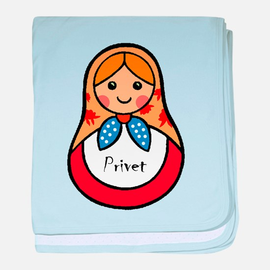 Matryoshka Russian Wooden Doll baby blanket