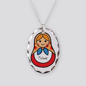 Matryoshka Russian Wooden Doll Necklace Oval Charm