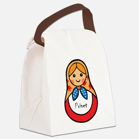 Matryoshka Russian Wooden Doll Canvas Lunch Bag