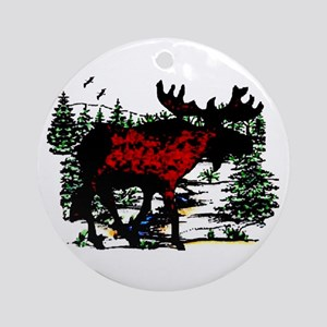 North Woods Moose  Ornament (Round)