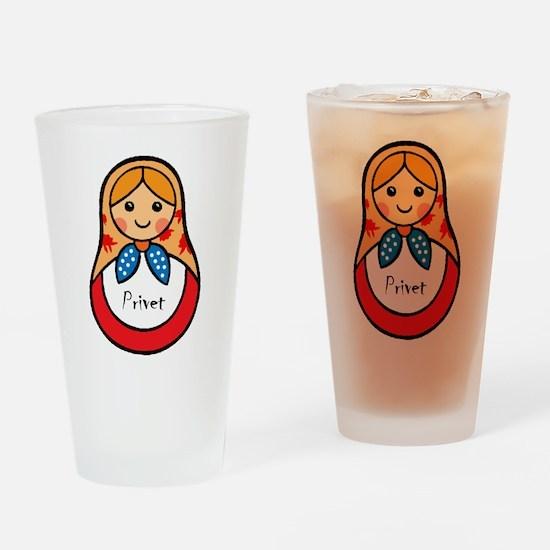 Matryoshka Russian Wooden Doll Drinking Glass
