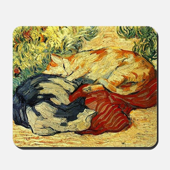 Impressionist Painting of cats Mousepad