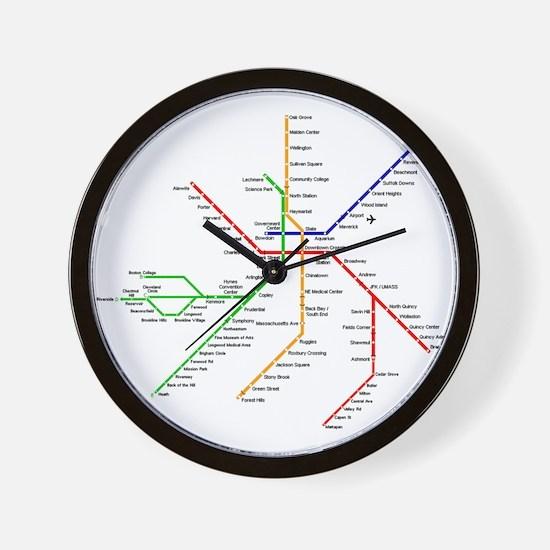 Boston Rapid Transit Map Subway Metro Wall Clock
