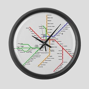 Boston Rapid Transit Map Subway M Large Wall Clock