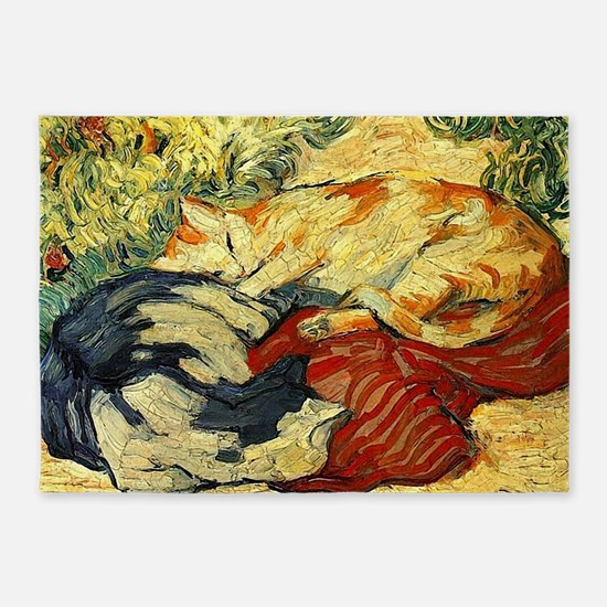 Impressionist Painting of cats 5'x7'Area Rug