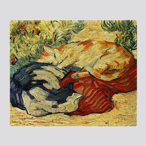 Impressionist Painting of cats Throw Blanket