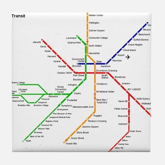 Boston Rapid Transit Map Subway Metro Tile Coaster