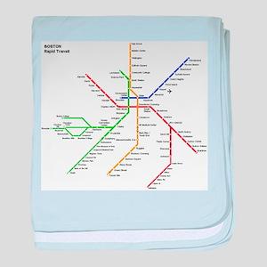 Boston Rapid Transit Map Subway Metro baby blanket