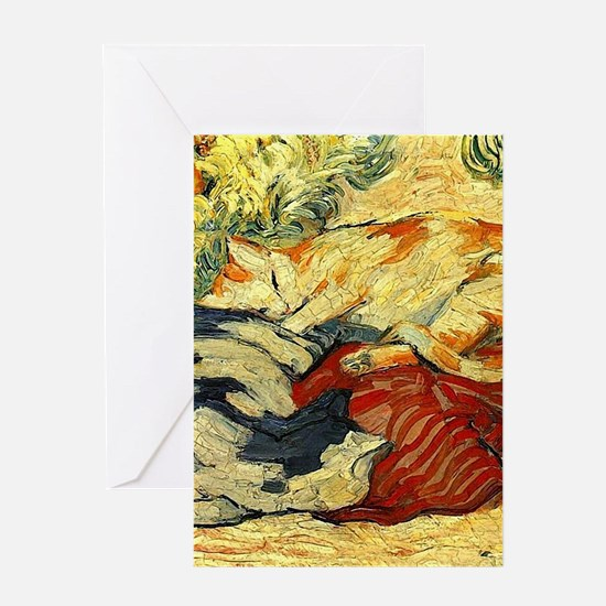 Impressionist Painting of cats Greeting Cards