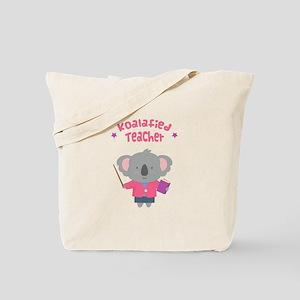 Cute Pun Koala Bear Koalafied Teacher Tote Bag