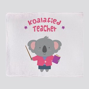 Cute Pun Koala Bear Koalafied Teacher Throw Blanke