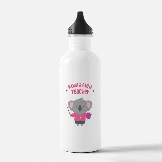 Cute Pun Koala Bear Koalafied Teacher Water Bottle
