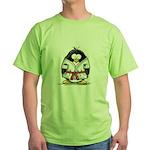 Martial Arts red belt penguin Green T-Shirt