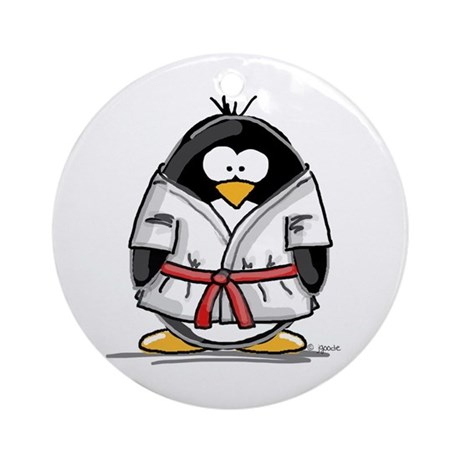 Martial Arts red belt penguin Ornament (Round)