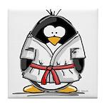 Martial Arts red belt penguin Tile Coaster